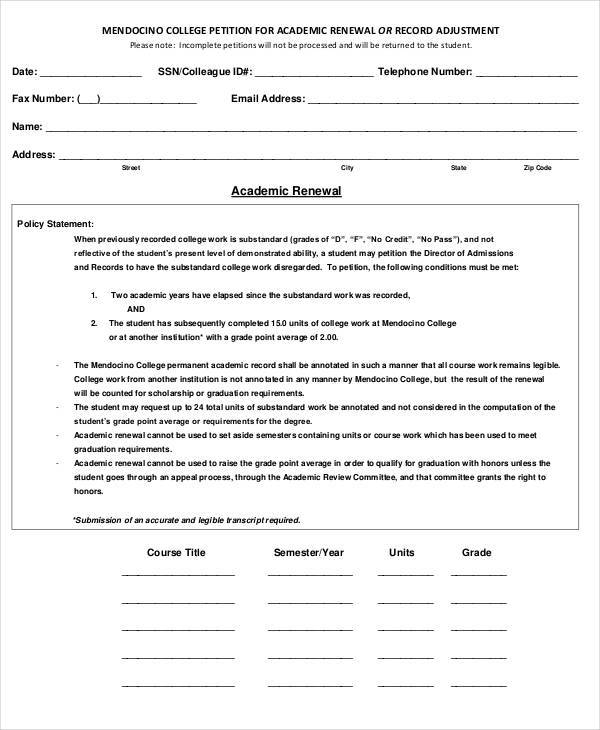 Academic Petition