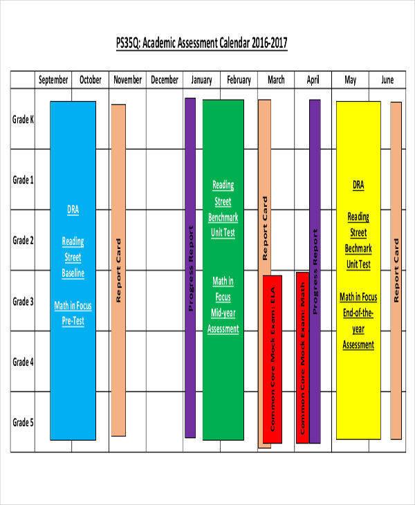 academic assessment calendar