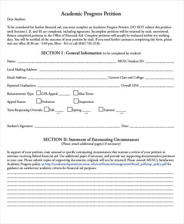 7 Academic Petition - Free Sample, Example, Format Download