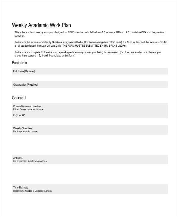 academic work plan example