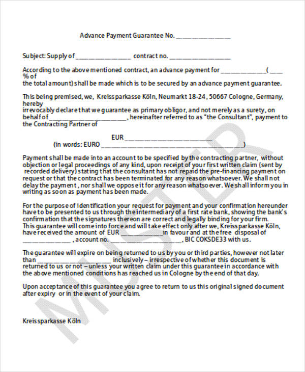 advance payment contract template