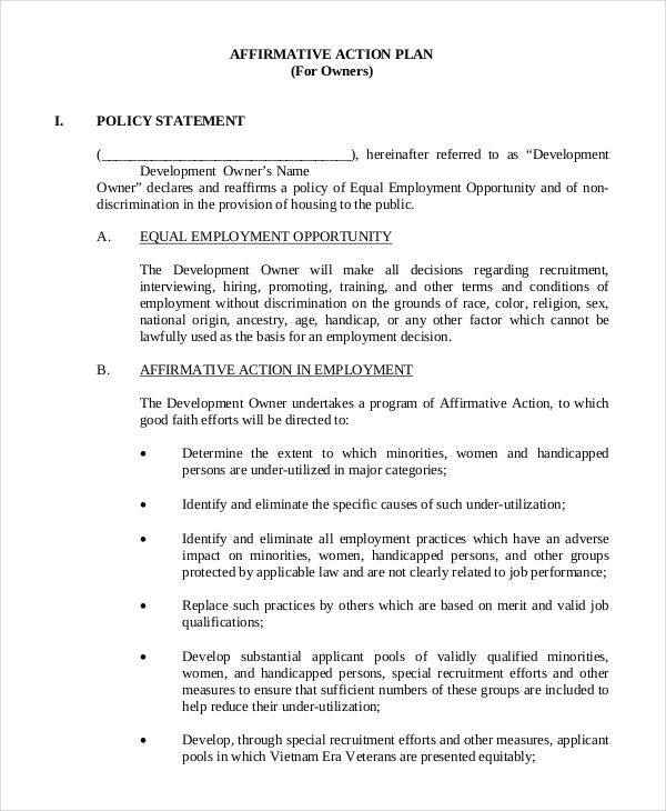 41 plan samples templates sample templates for Affirmative action policy template