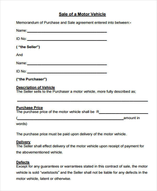 Vehicle Sales Contract  Free Sample Example Format Download
