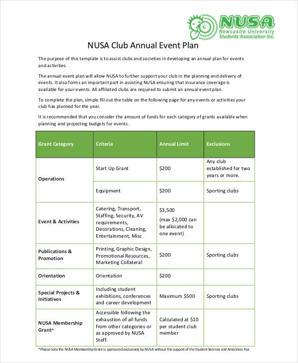 annual event plan