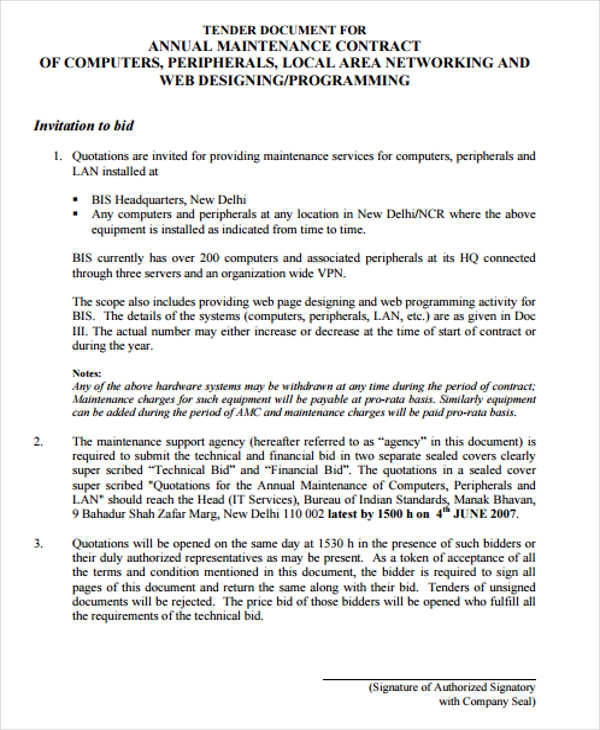 Maintenance Agreement  Examples In Word Pdf