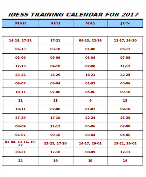 annual training calendar