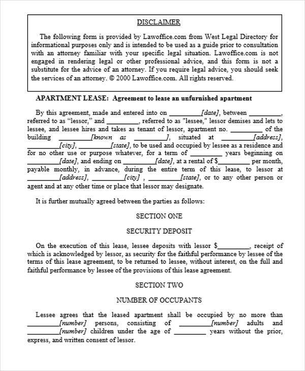 apartment lease contract format