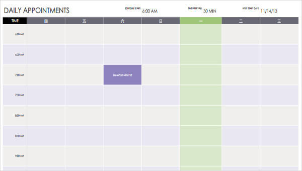 5 Appointment Calendar Templates Examples In Word Pdf Sample