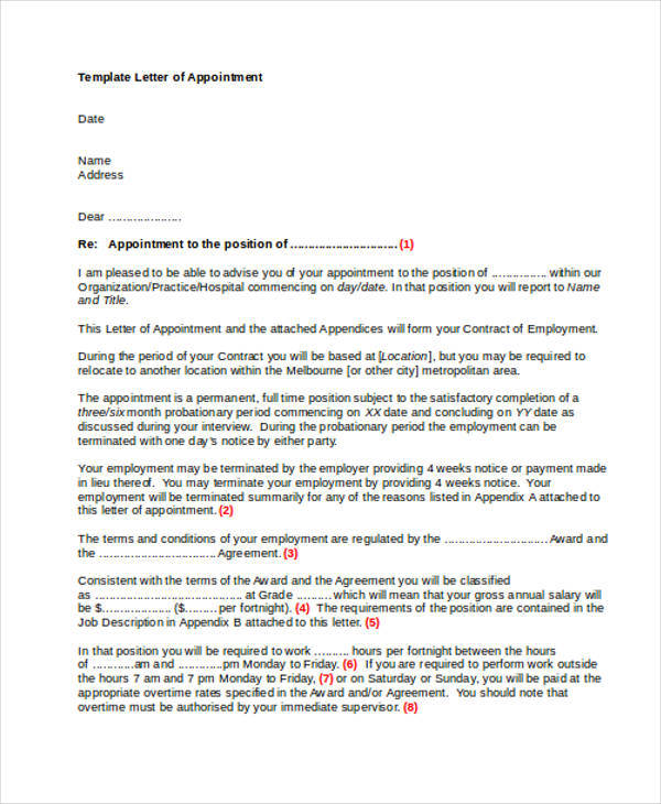 appointment letter to position