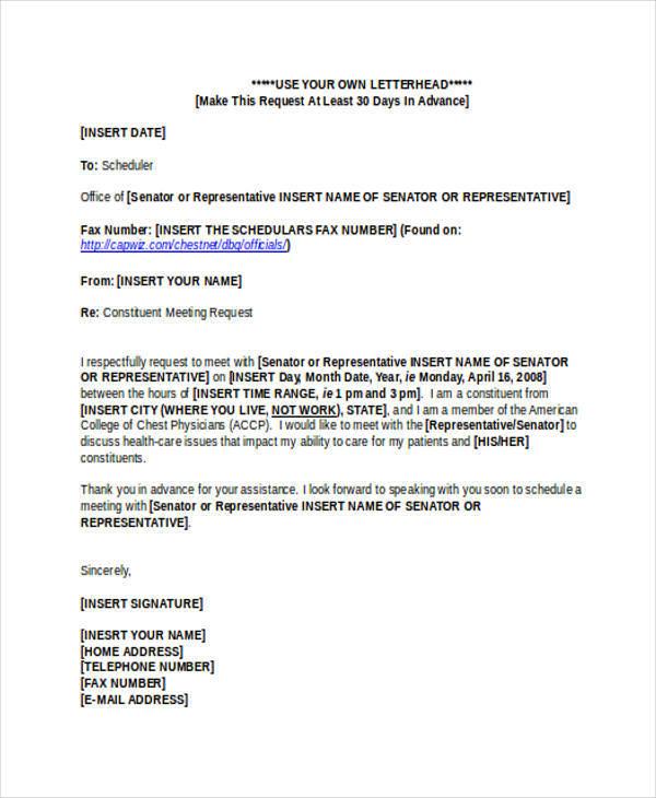 appointment request letter format