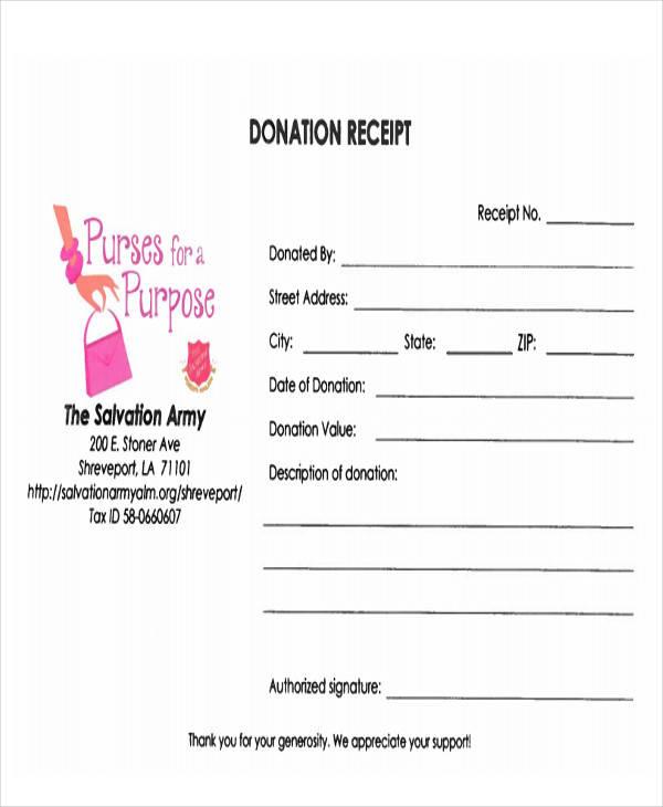 army donation receipt