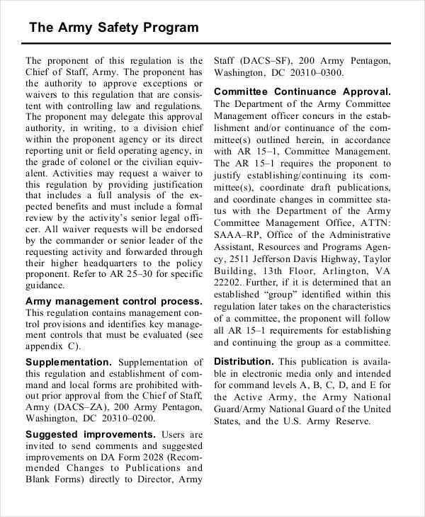 army safety program