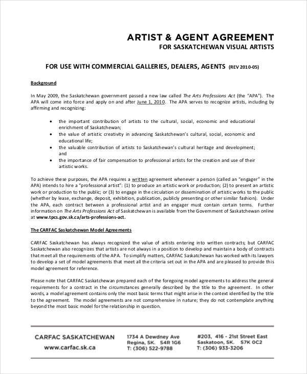 artist agent contract