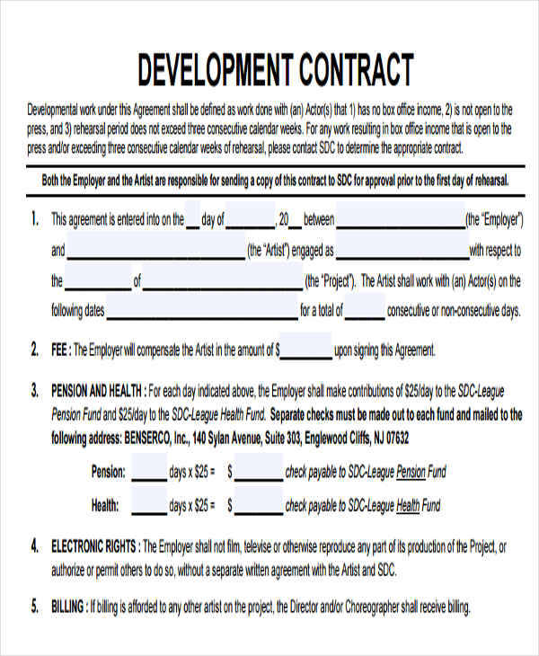 artist development contract