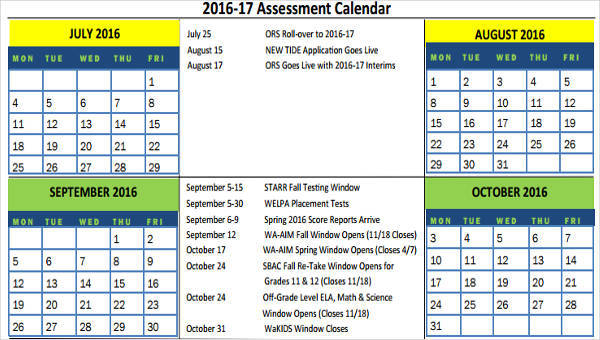 Essment Calendar Template | 9 Assessment Calendar Templates Examples In Word Pdf