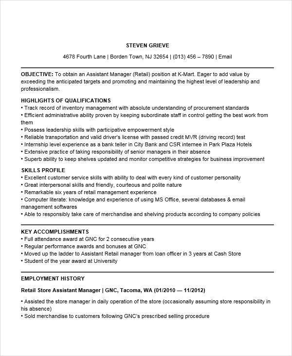 assistant manager experience manager
