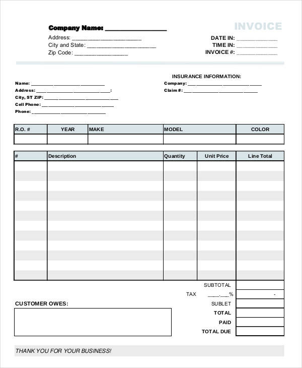 Auto Repair Invoice Templates  Free Sample Example Format Download