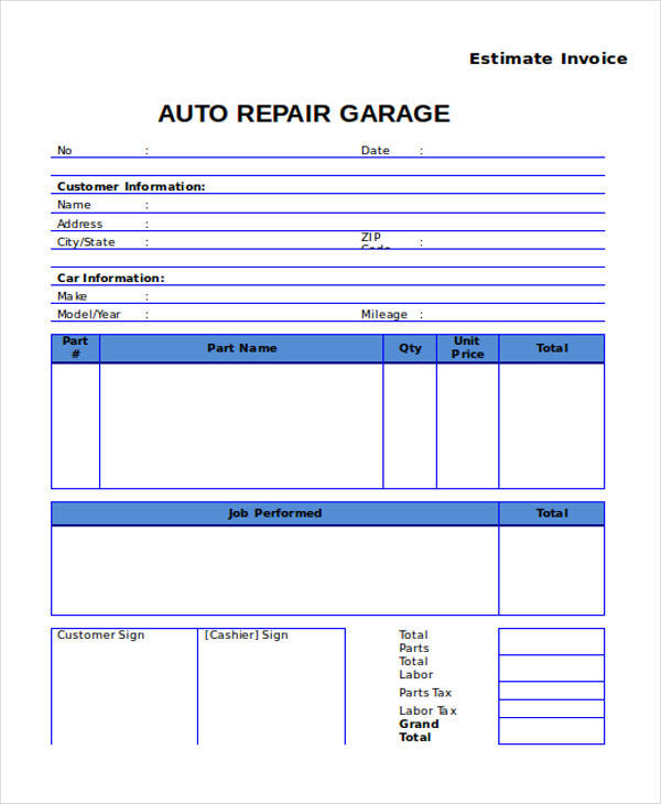 Auto Repair Invoice Templates  Free Sample Example Format
