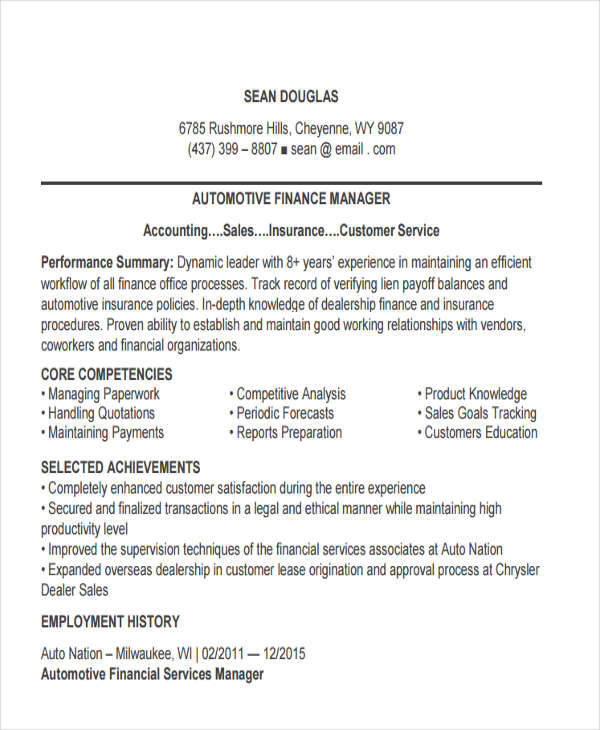 Attractive Automotive Finance Manager With Auto Finance Manager Resume