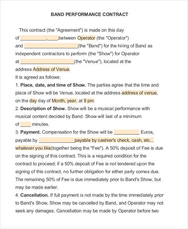 Performance Contract Templates  Free Sample Example Format