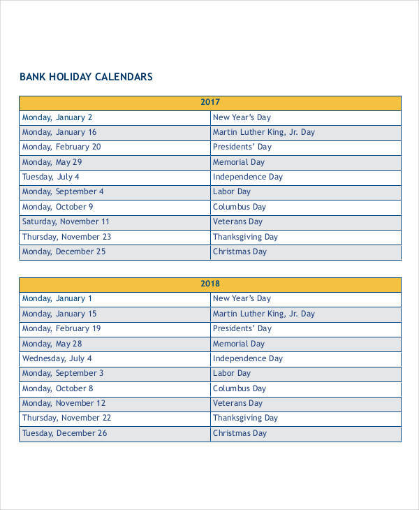 bank holiday calendar1