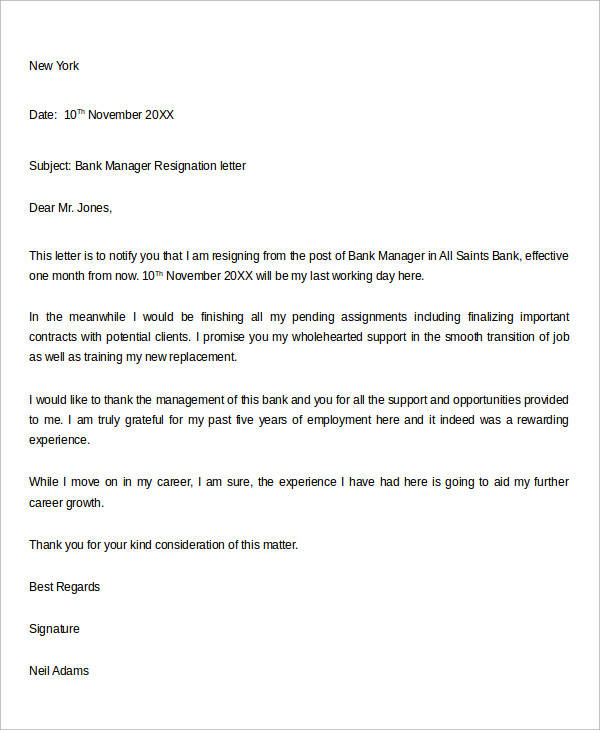 bank manager resignation letter