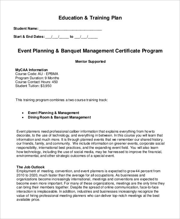 banquet event planning program