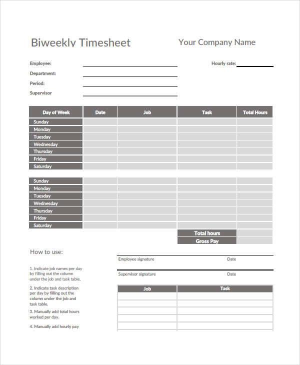basic biweekly timesheet