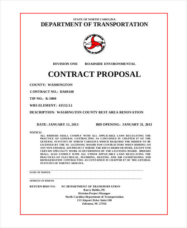 Contract Proposals  Examples In Word Pdf