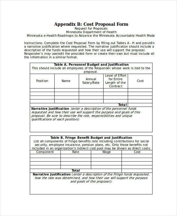 Cost Proposal Templates   Examples In Word Pdf