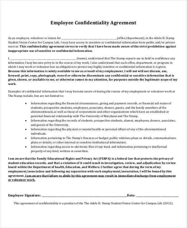 basic employee confidentiality