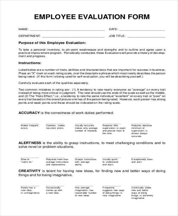 basic employee evaluation form