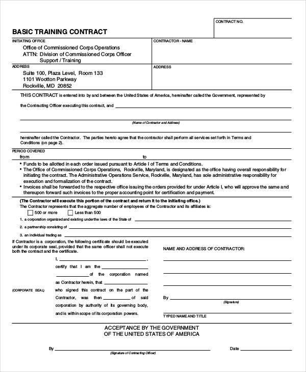 basic training contract