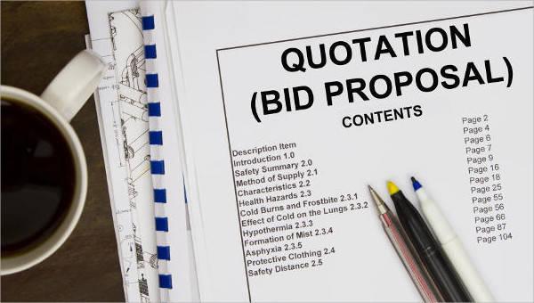 7 bid proposals free sample example format download