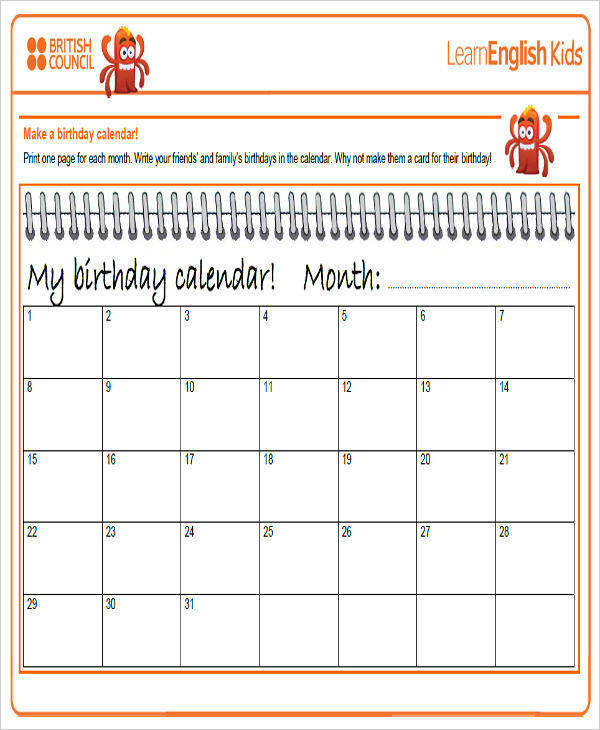 Sample Birthday Calendar  KakTakTk