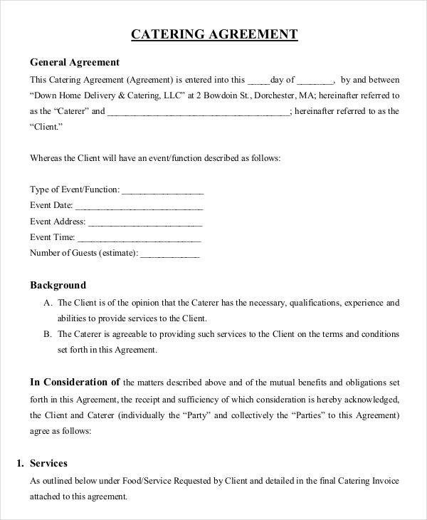 9+ Catering Contract Templates - Free Sample, Example, Format Download