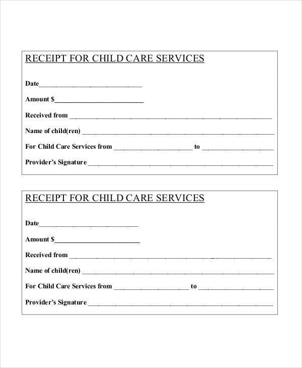 blank child service receipt