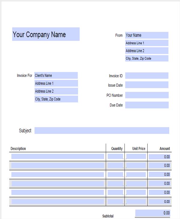 blank company receipt