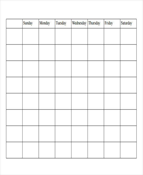 blank editorial calendar