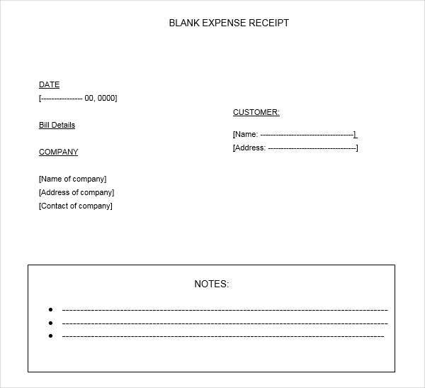 7  expense receipt template