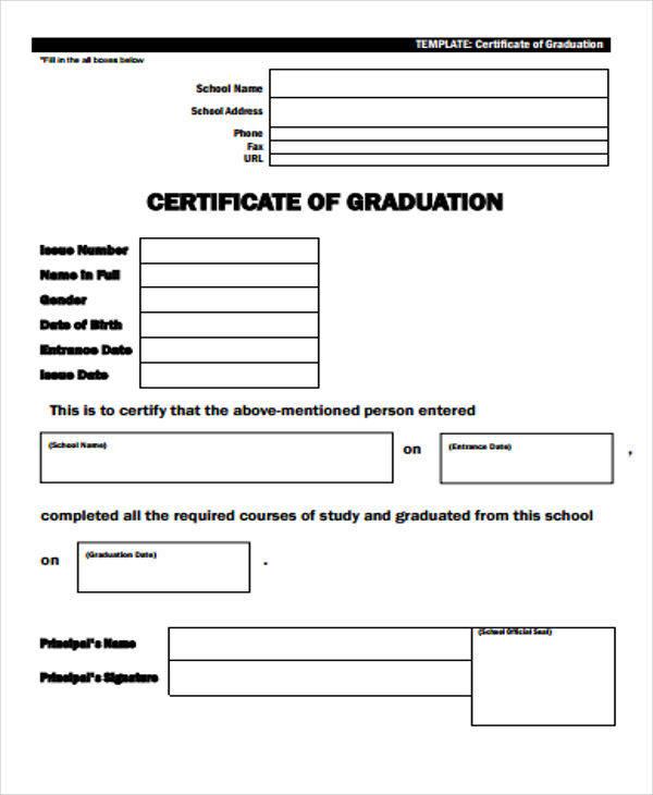 blank graduation certificate