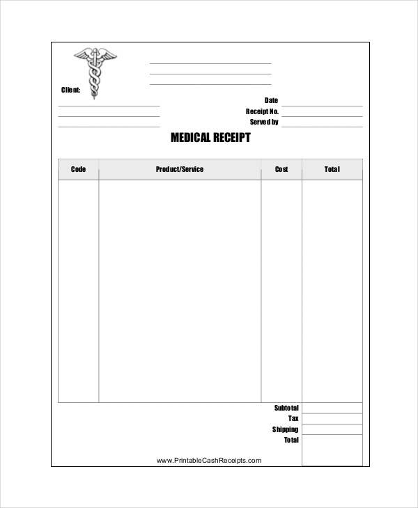 5  medical receipt template