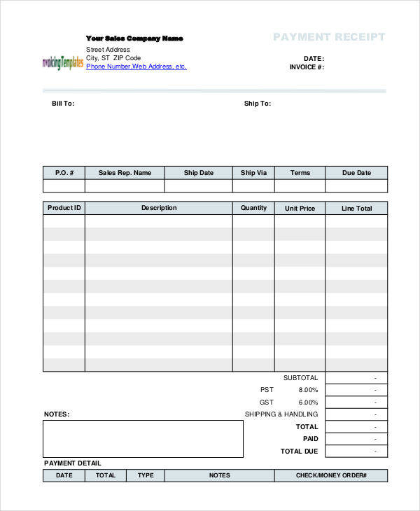 10 blank receipt templates examples in word pdf