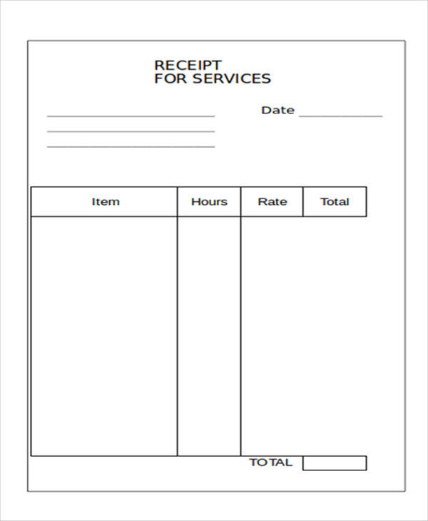 10+ Blank Receipt Templates – Examples in Word, PDF | Sample Templates