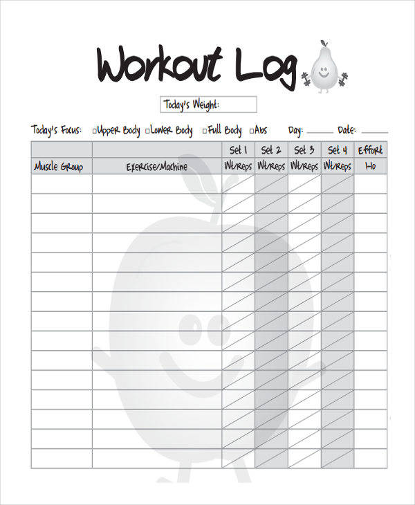 blank workout log