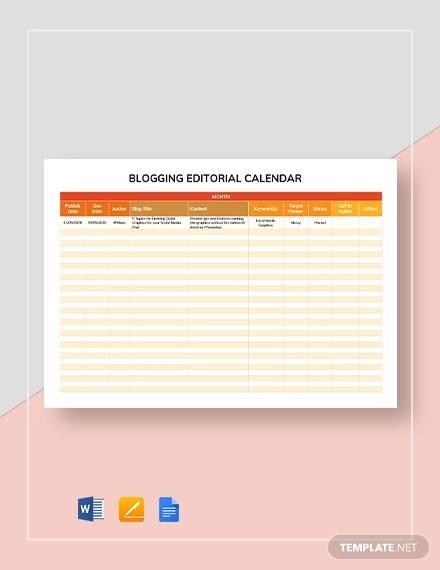 blogging editorial calendar template