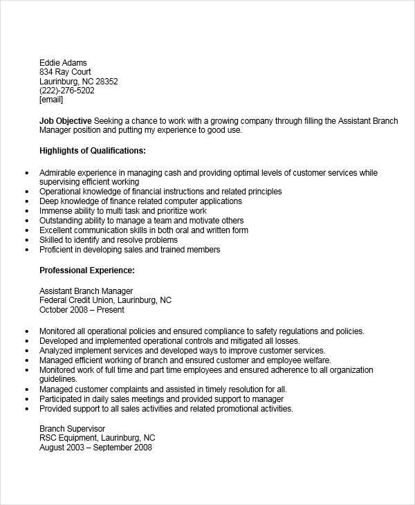 44 manager resume exle