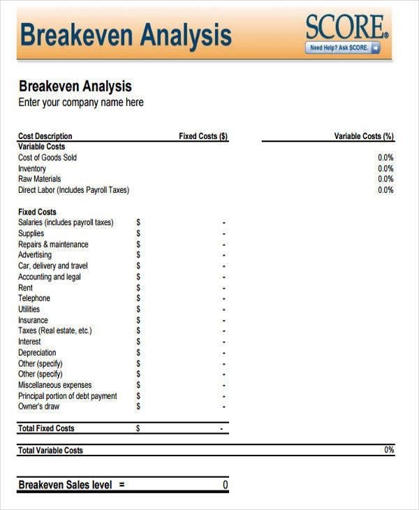 what is break even analysis
