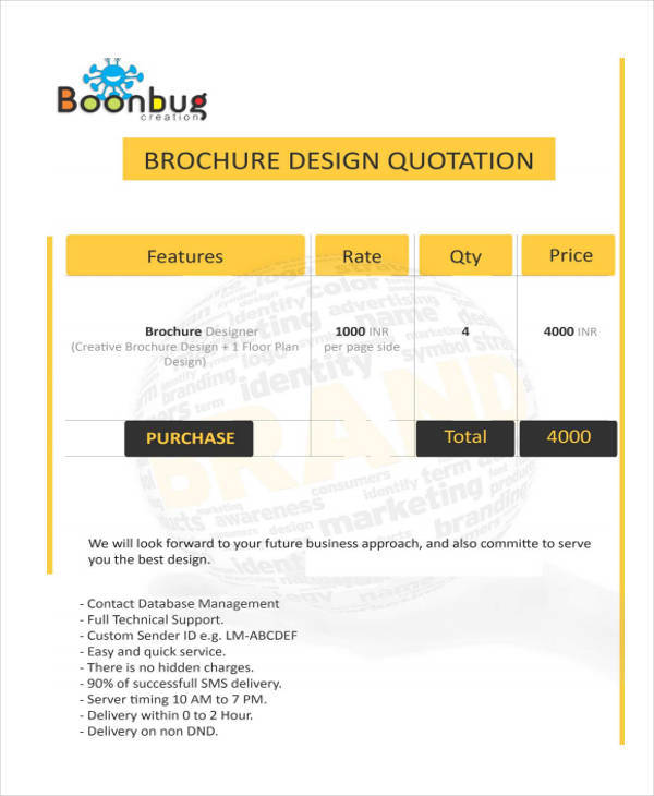 9 design quotation samples templates sample templates for Brochure design quotation