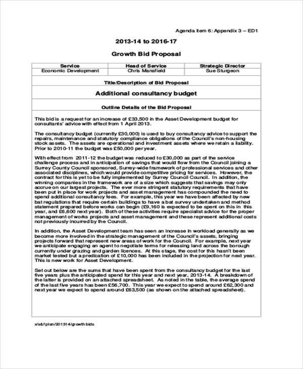 budget bid proposal